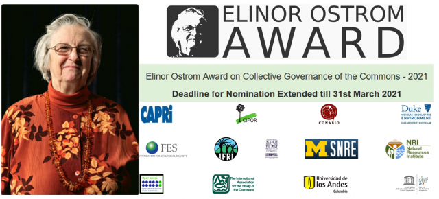 Elinor Ostrom Awards 2021 Nomination Deadline extended to 31.03.2021